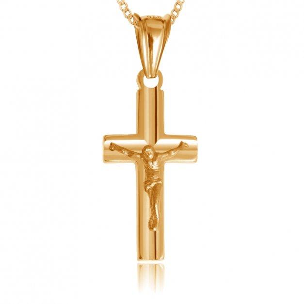 Srebrny Krzyżyk 925 Złocony z Pasyjką Łańcuszek Grawer
