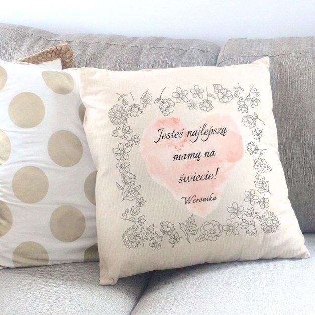 Poduszka personalizowana z nadrukiem KWIATY DLA MAMY