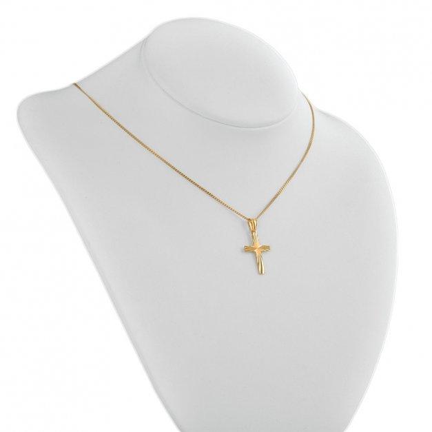 Srebrny Krzyżyk 925 Złocony LaLuce z Łańcuszkiem Grawer
