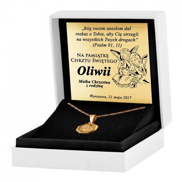 Srebrny Medalik 925 Złocony Matka Boska z Łańcuszkiem Grawer