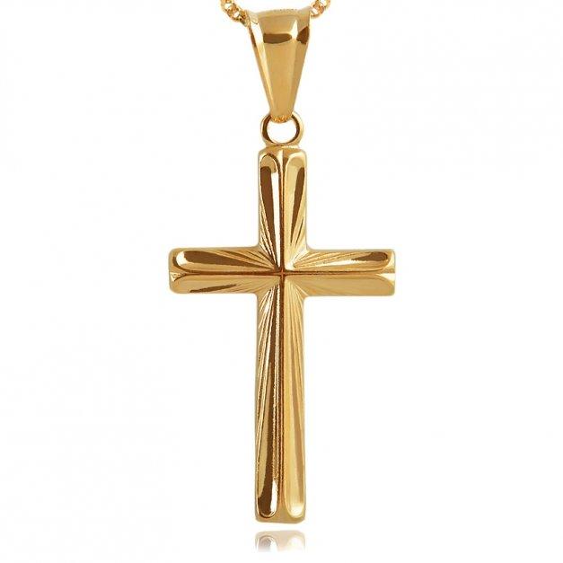 Srebrny Krzyżyk 925 Złocony Grande z Łańcuszkiem Grawer