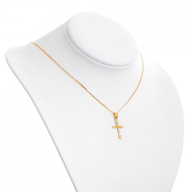 Srebrny Krzyżyk z Łańcuszkiem 925 Złocony YZ71