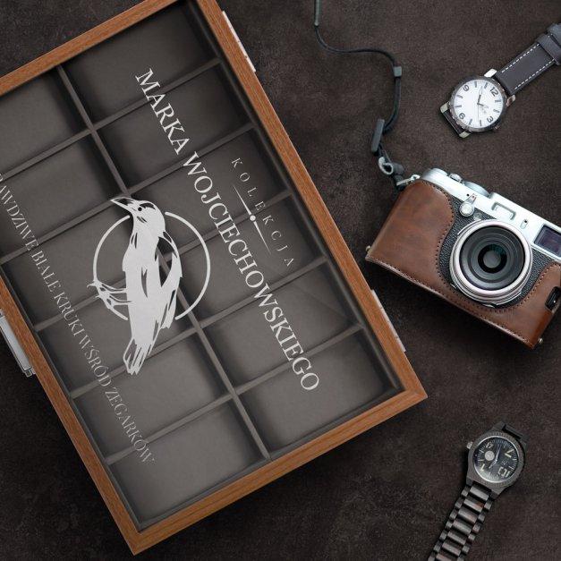 Drewniana Szkatułka Kuferek na Zegarki GRAWER Biały Kruk