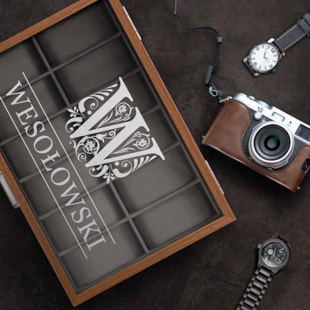 Szkatułka drewniana kuferek na zegarki z grawerem dla niego