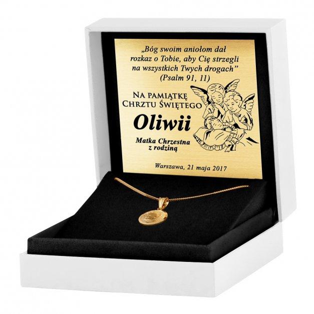 Srebrny Medalik 925 Złocony Jan Paweł II z Łańcuszkiem Grawer
