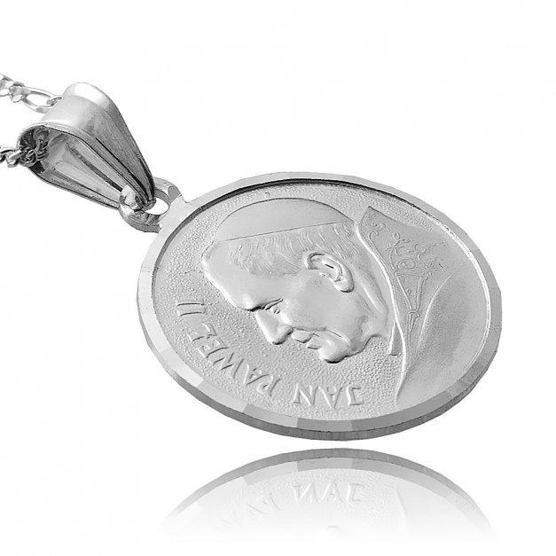 Srebrny Medalik 925 Jan Paweł II z Łańcuszkiem Grawer