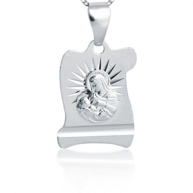 Srebrny komplet medalik z łańcuszkiem YN29