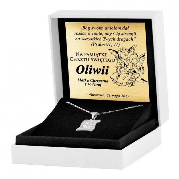 Srebrny Medalik 925 Matka Boska z Łańcuszkiem Grawer