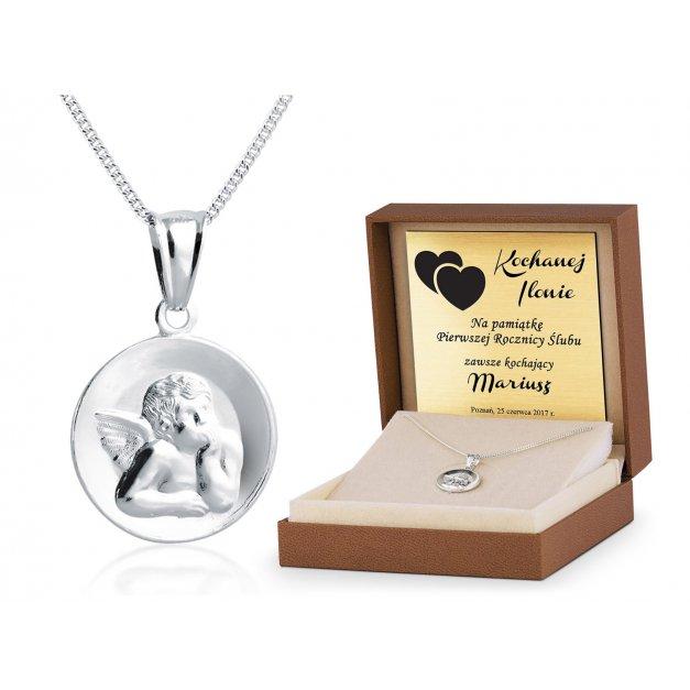 Srebrny Medalik 925 Aniołek z Łańcuszkiem Grawer
