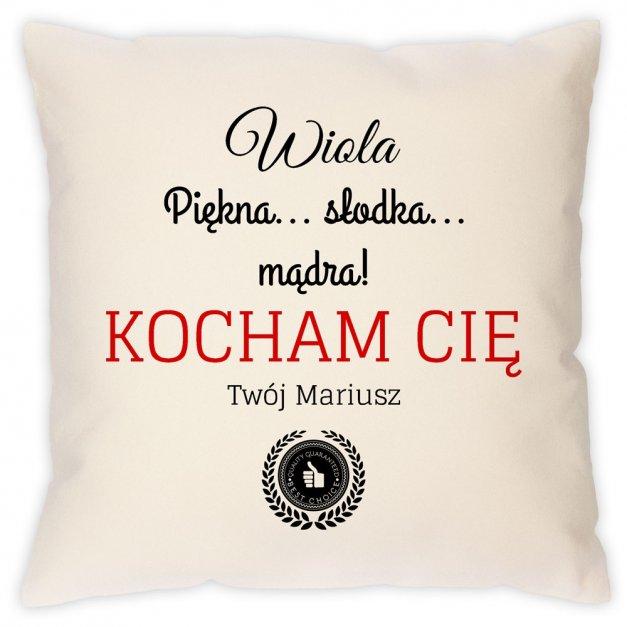 Poduszka personalizowana z nadrukiem KOCHAM CIĘ