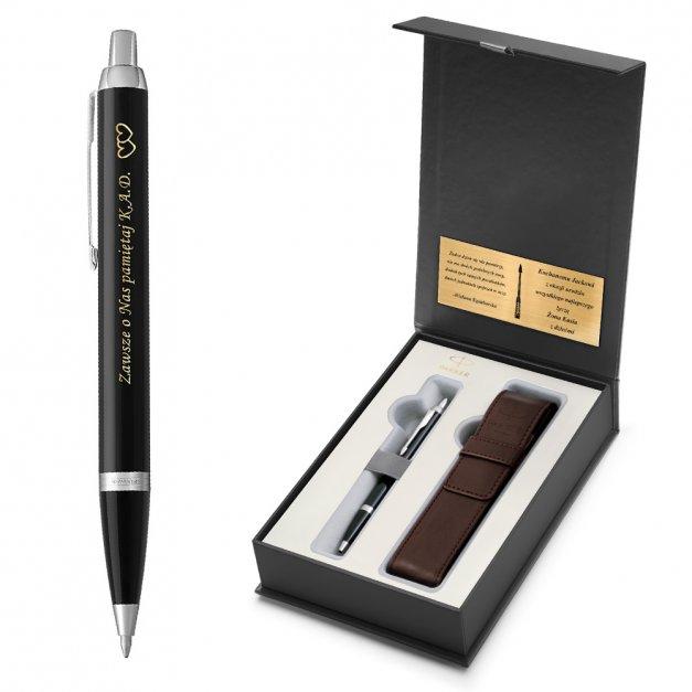 Długopis Parker IM Czarny CT GRAWER i ETUI PRESTIGE