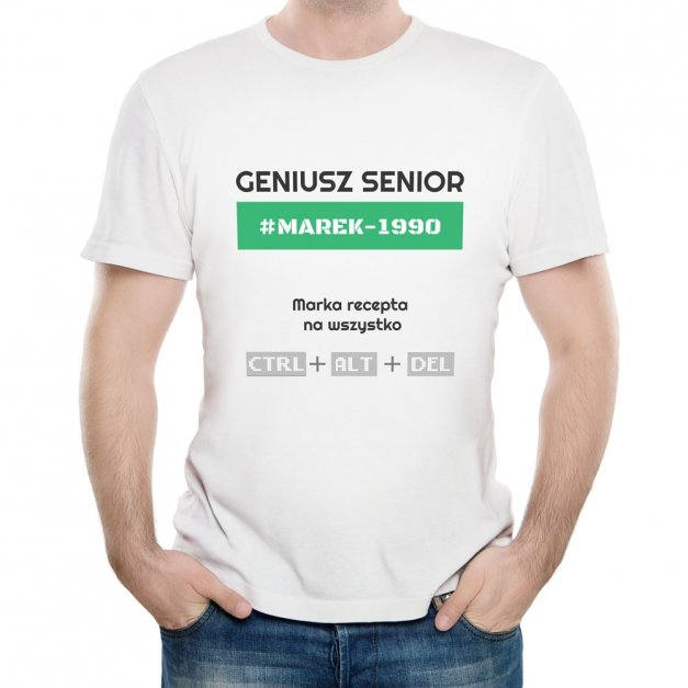 Koszulka Męska z Twoim Nadrukiem GENIUSZ