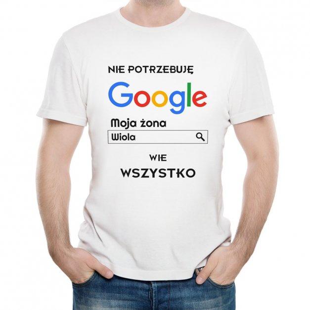 Koszulka Męska z Twoim Nadrukiem ŻONA WIE WSZYSTKO
