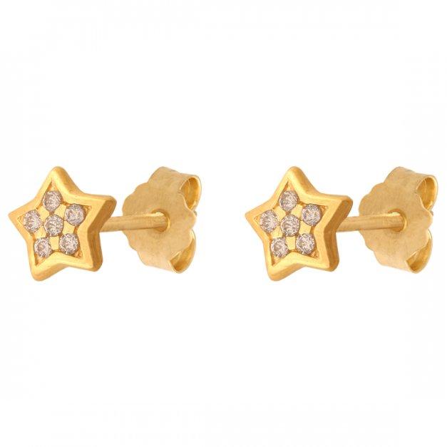 Złote kolczyki 585 na sztyfcie gwiazda prezent