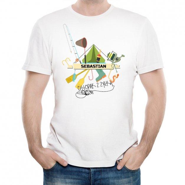 Koszulka Męska z Twoim Nadrukiem CHŁOPAK Z ŻYŁKĄ