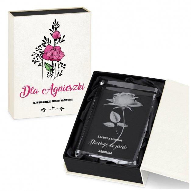 Kryształ 3D Grawerowany Róża w Personalizowanym Opakowaniu dla Niej