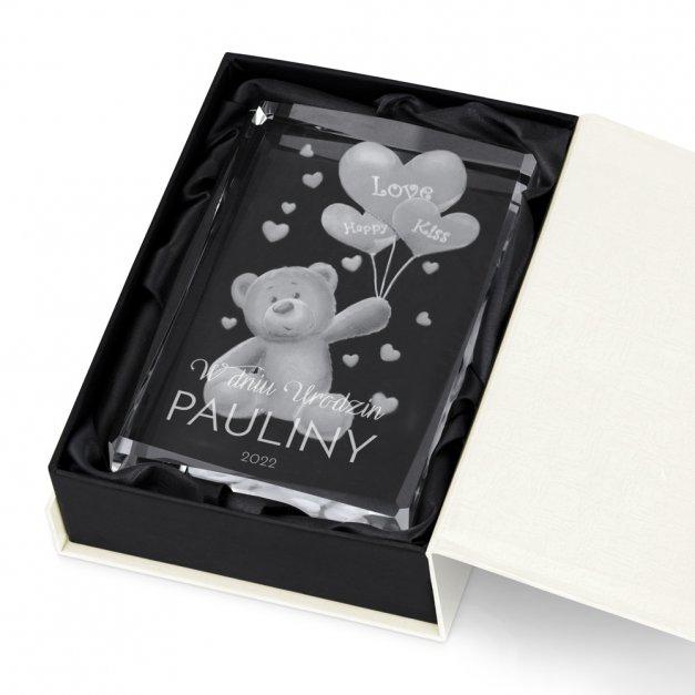 Kryształ 3D Grawerowany Miś w Personalizowanym Opakowaniu na Urodziny