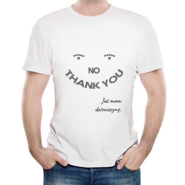 Koszulka Męska z Twoim Nadrukiem NIE DZIĘKUJĘ