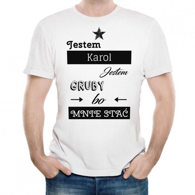 Koszulka Męska z Twoim Nadrukiem JESTEM GRUBY