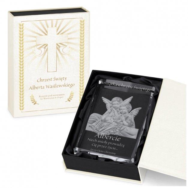 Kryształ 3D grawerowany aniołki w spersonalizowanym opakowaniu chrzest święty