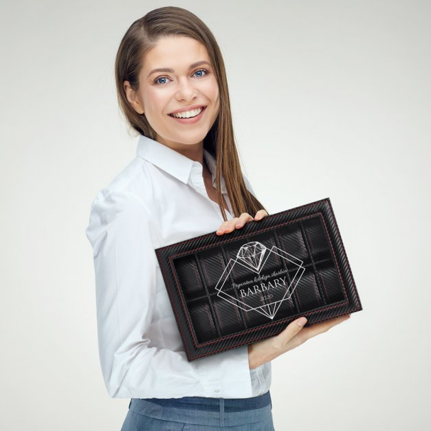 Karbonowa Szkatułka Kuferek na Zegarki GRAWER Brylant