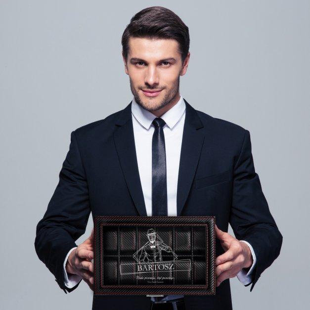 Karbonowa Szkatułka Kuferek na Zegarki GRAWER Styl dla Niego