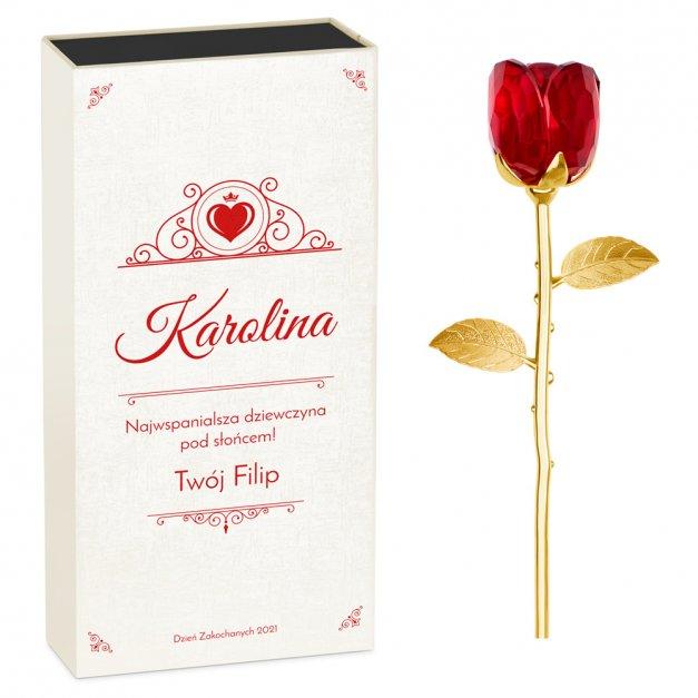 Róża kryształowa w pudełku z nadrukiem dla dziewczyny na walentynki