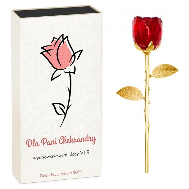 Róża kryształowa w pudełku z nadrukiem dla wychowawczyni na Dzień Nauczyciela