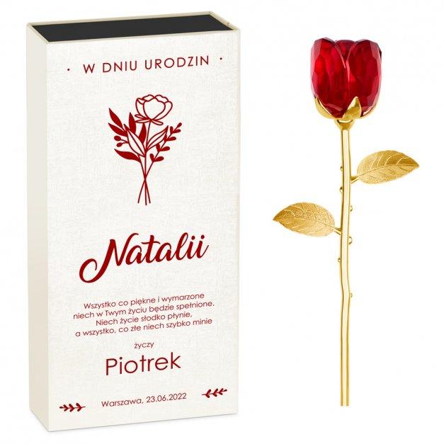 Róża kryształowa w pudełku z nadrukiem dla niej na urodziny