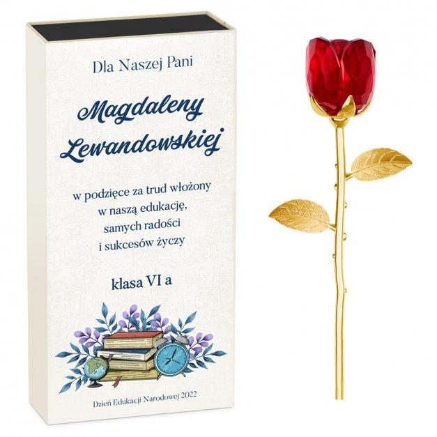 Kryształowa Róża w Personalizowanym Pudełku dla Nauczycielki