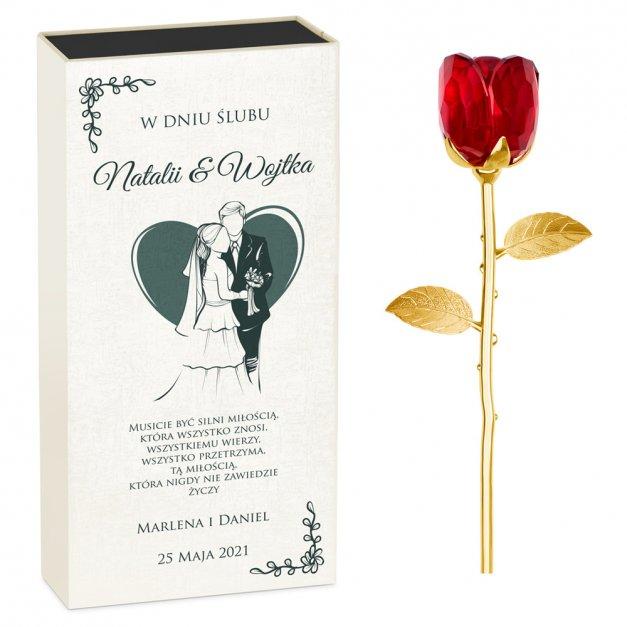 Kryształowa Róża w Personalizowanym Pudełku na Ślub