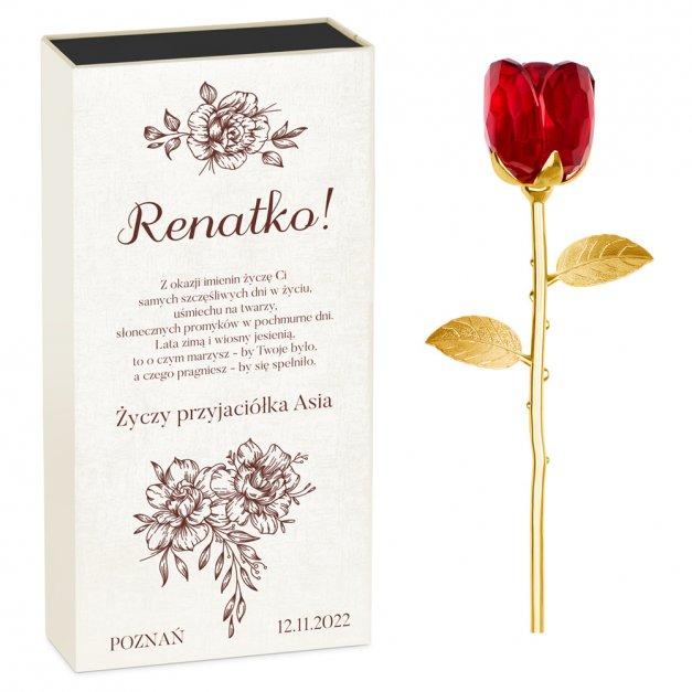 Kryształowa Róża w Personalizowanym Pudełku na Imieniny