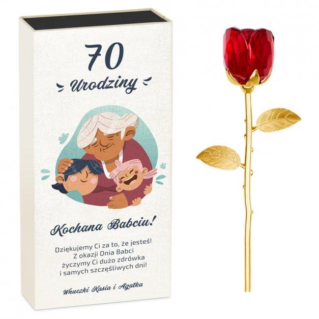 Kryształowa Róża w Personalizowanym Pudełku dla Babci