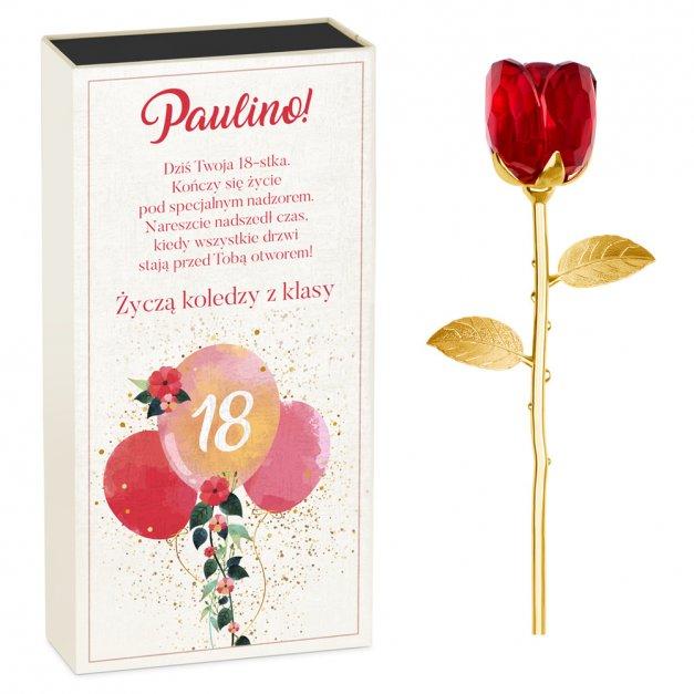 Kryształowa Róża w Personalizowanym Pudełku na 18 Urodziny