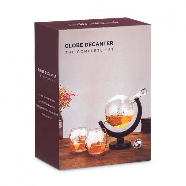 Zestaw Do Whisky Karafka GLOBUS 2 Szklanki Inicjał Nazwisko