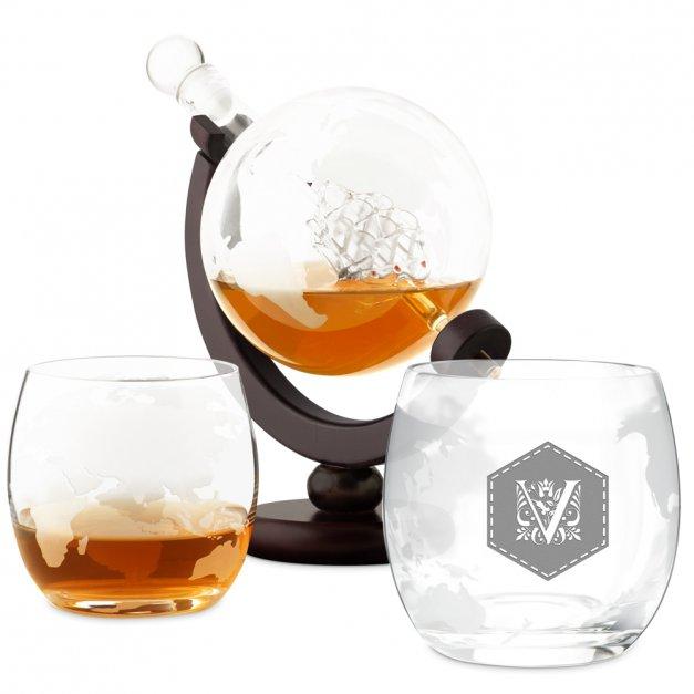 Zestaw Do Whisky Karafka GLOBUS 2 Szklanki Inicjał