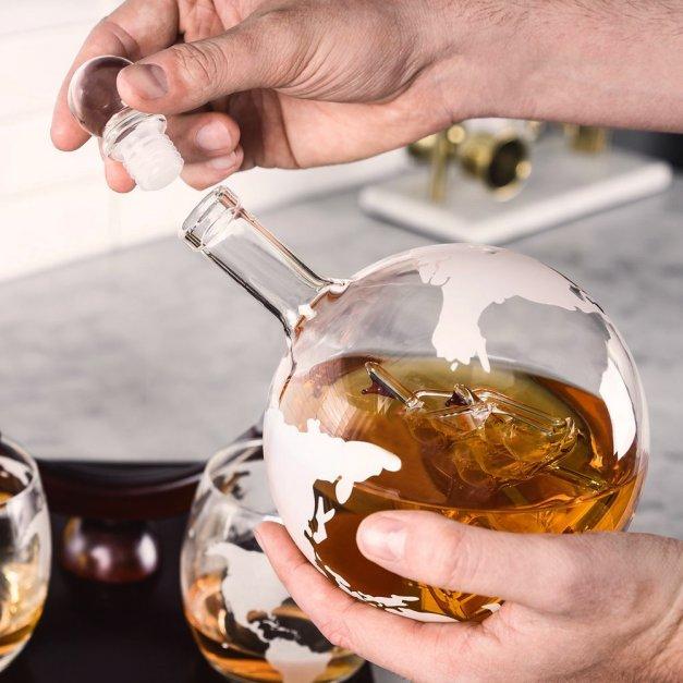 Zestaw Do Whisky Karafka GLOBUS 2 Szklanki Nazwisko Laur