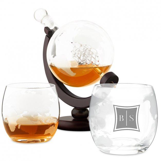 Zestaw Do Whisky Karafka GLOBUS 2 Szklanki Inicjały