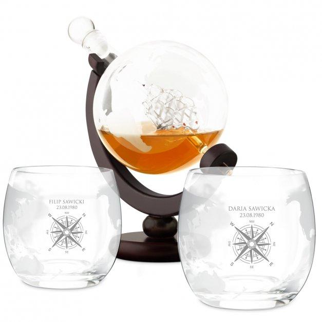 Zestaw Do Whisky Karafka GLOBUS 2 Szklanki Róża Wiatrów dla Pary