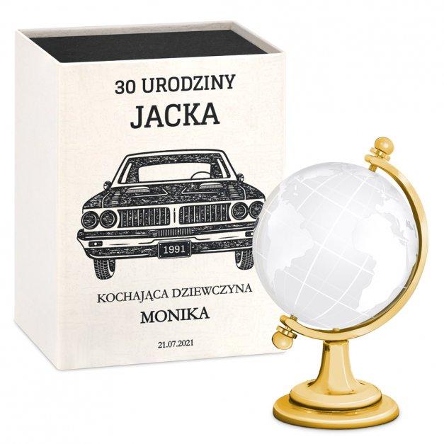 Kryształ Globus dla Chłopaka na 30 40 50 Urodziny