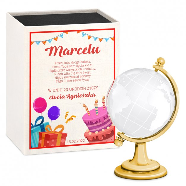 Kryształ Globus dla Niego na 20 30 40 Urodziny
