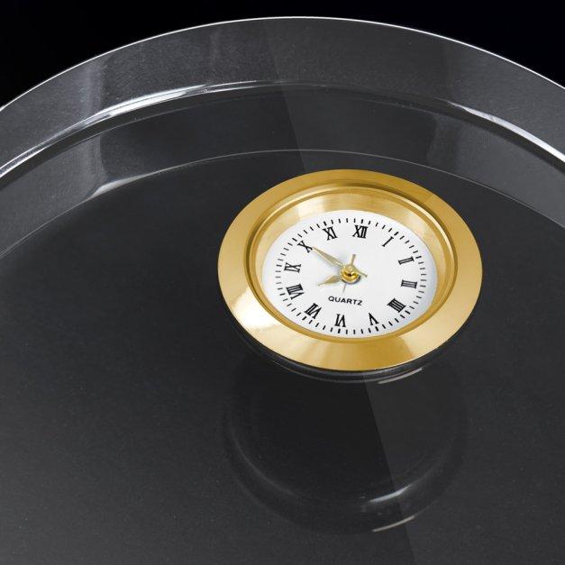Serce kryształowe grawerowane z zegarem w pudełku z nadrukiem dla pary na 18 rocznicę ślubu