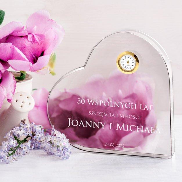 Serce kryształowe grawerowane z zegarem w pudełku z nadrukiem dla pary na 30 rocznicę ślubu