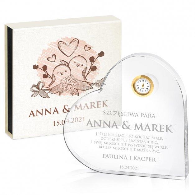 Serce kryształowe grawerowane z zegarem w pudełku z nadrukiem dla pary na ślub rocznicę