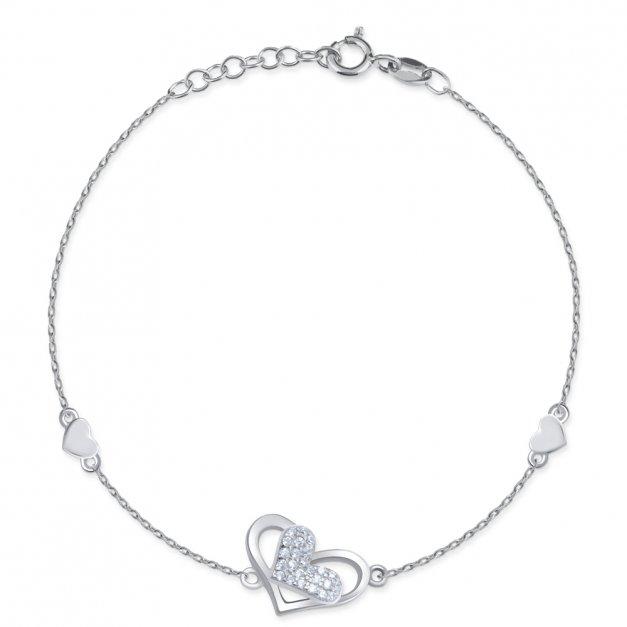 Srebrna bransoletka 925 grawer serce dla niej