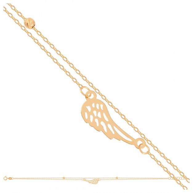 Złota bransoletka 585 łańcuszkowa kuleczka