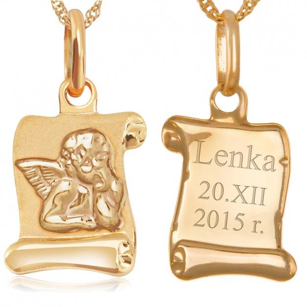 Złoty Medalik 585 Aniołek z Łańcuszkiem GRAWER ZZ70