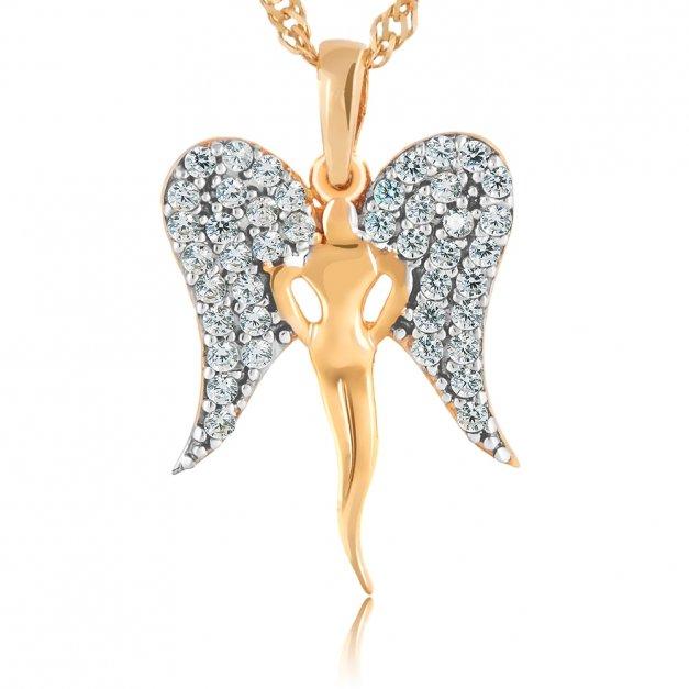 Złoty Medalik 585 Lśniący Anioł z Łańcuszkiem Grawer