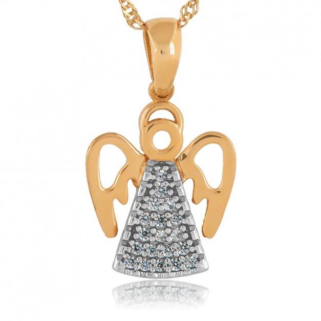 Złoty Aniołek z Łańcuszkiem 585 GRAWER ZZ73