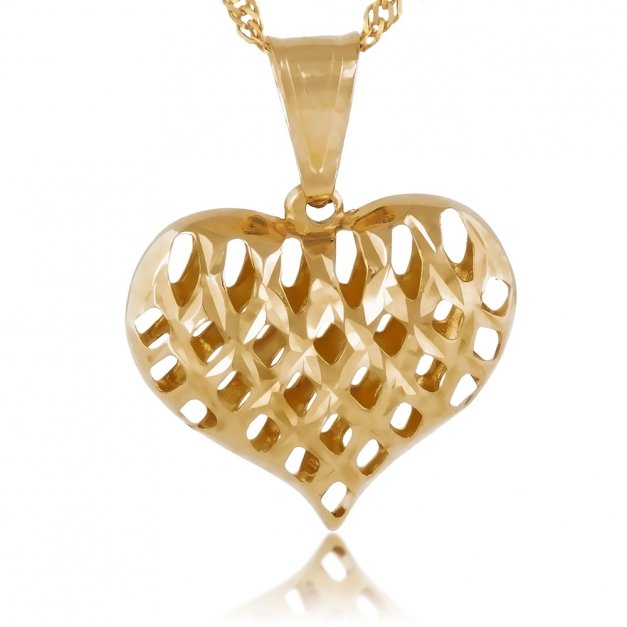 Złoty Komplet 333 Łańcuszek z Sercem GRAWER ZZ78
